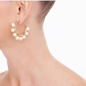 J Crew pearl drop hoop earrings